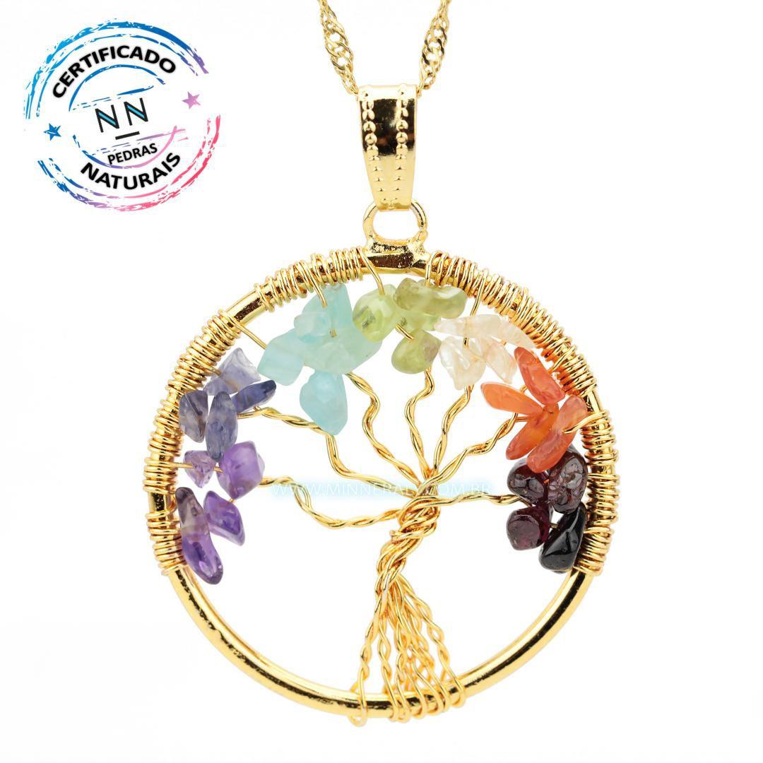 Pingente Árvore da Vida 7 Chakras Dourado #NN198