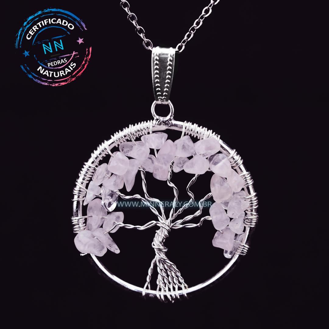 Pingente Árvore da Vida Quartzo Rosa In Natura Prateado #NN199