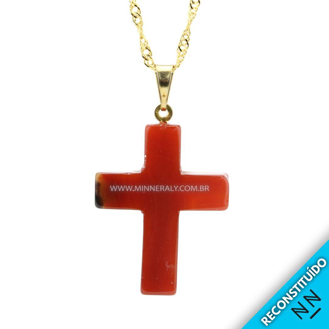 Pingente Cruz Ágata Marrom Reconstituío Dourado #NN191