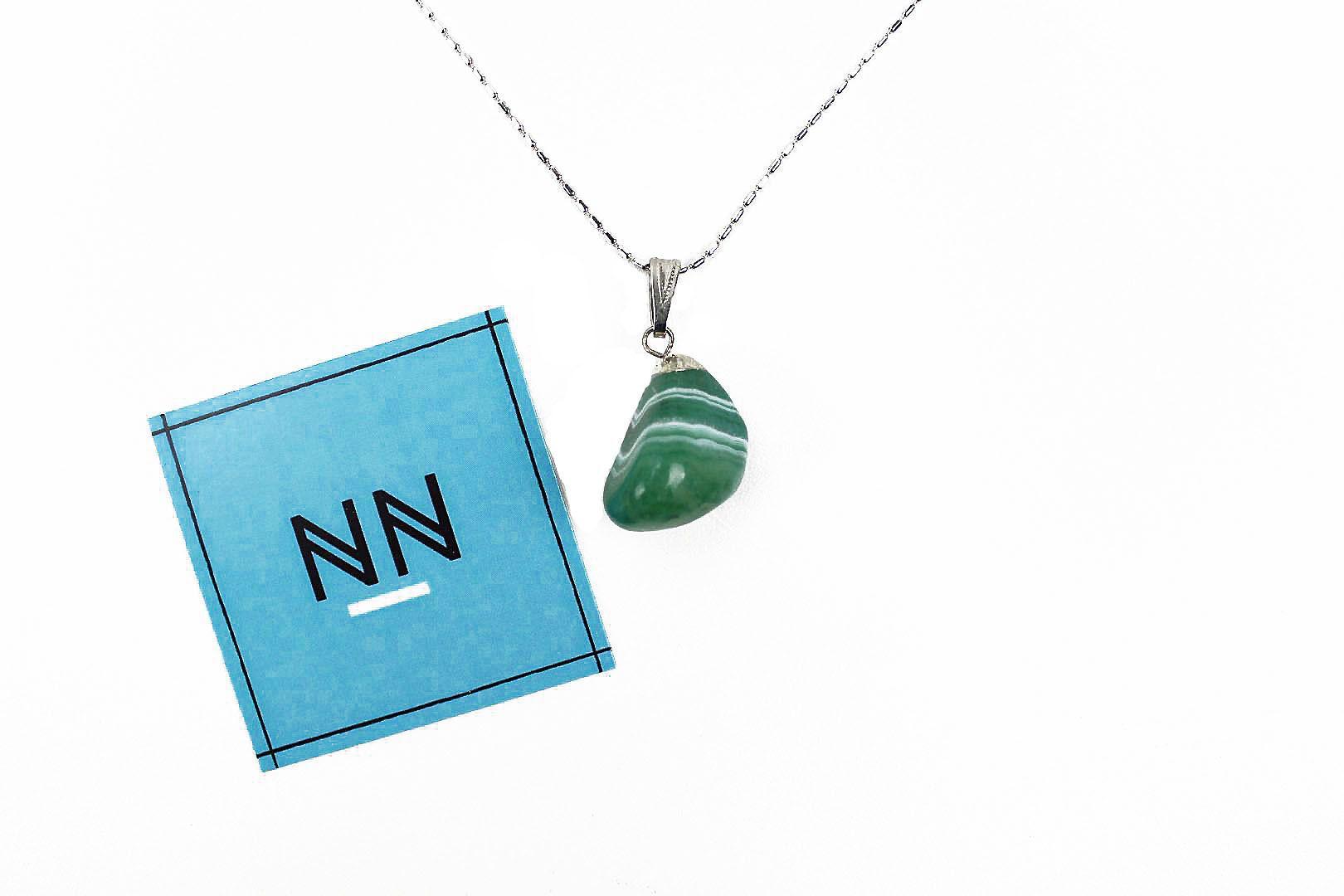 Pingente Ágata Verde Reconstituído Prateado #NN101
