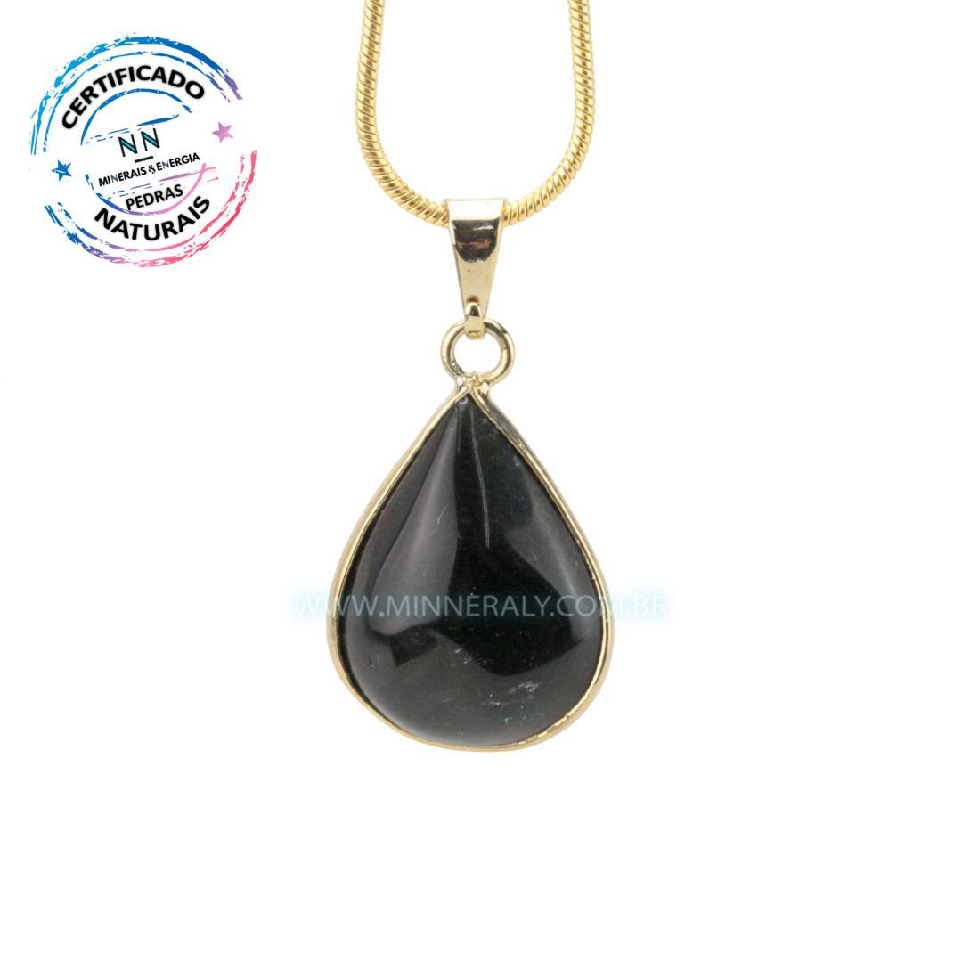 Pingente de Obsidiana Negra (Preta) in Natura Dourado