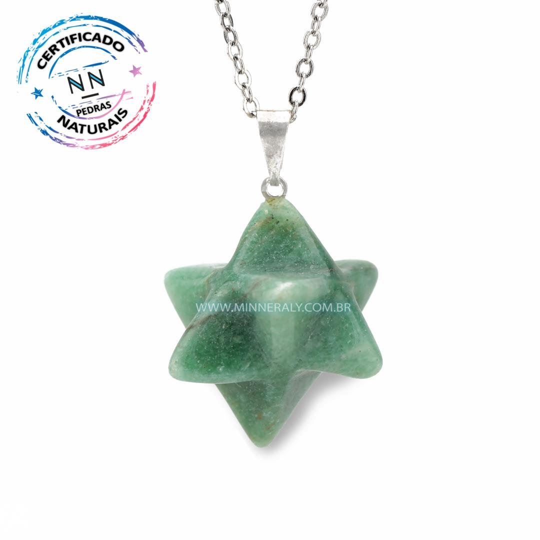 Pingente Estrela de Quartzo Verde IN Natura Prateado