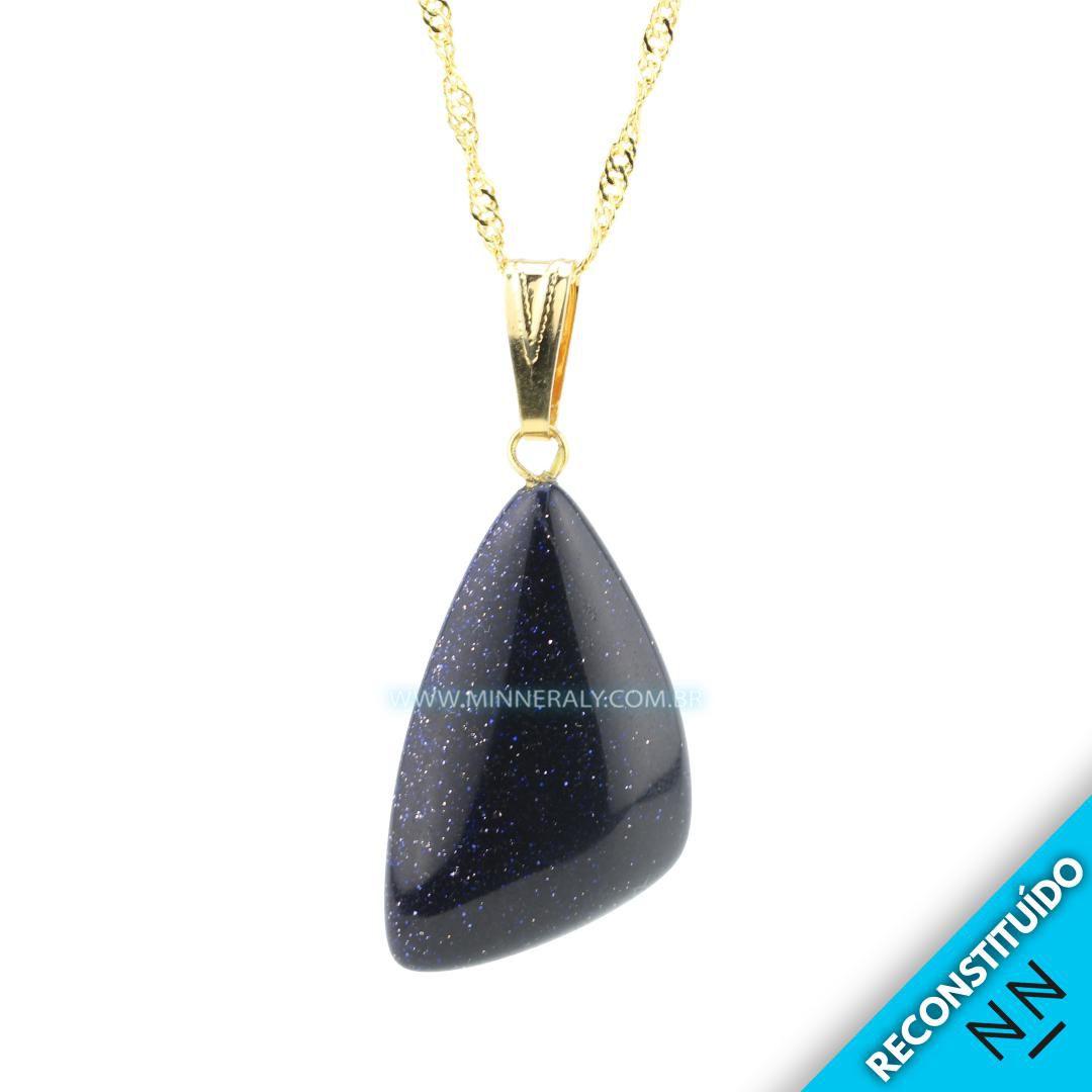 Pingente de Gold Stone (Pedra da Estrela Azul) Reconstituída Dourado