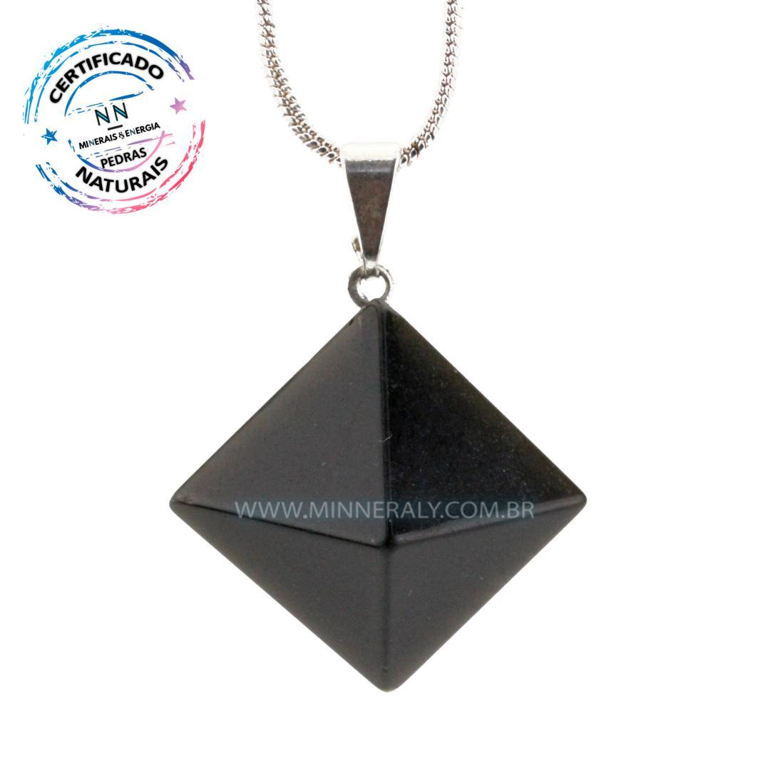 Pingente Piramide de Obsidiana Negra (preta) IN Natura Prateado