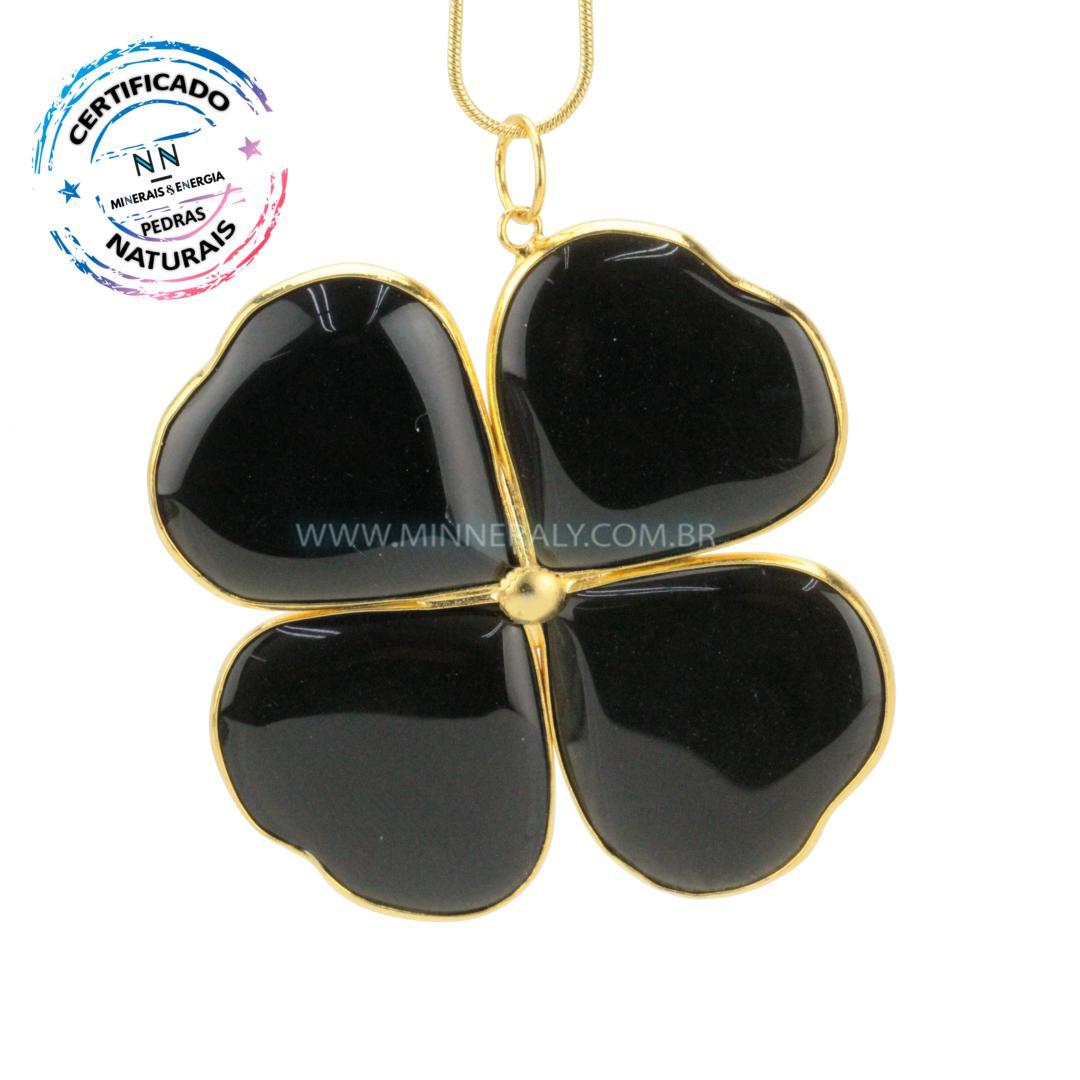 Pingente Trevo de Obsidiana Negra (Preta) in Natura Dourado