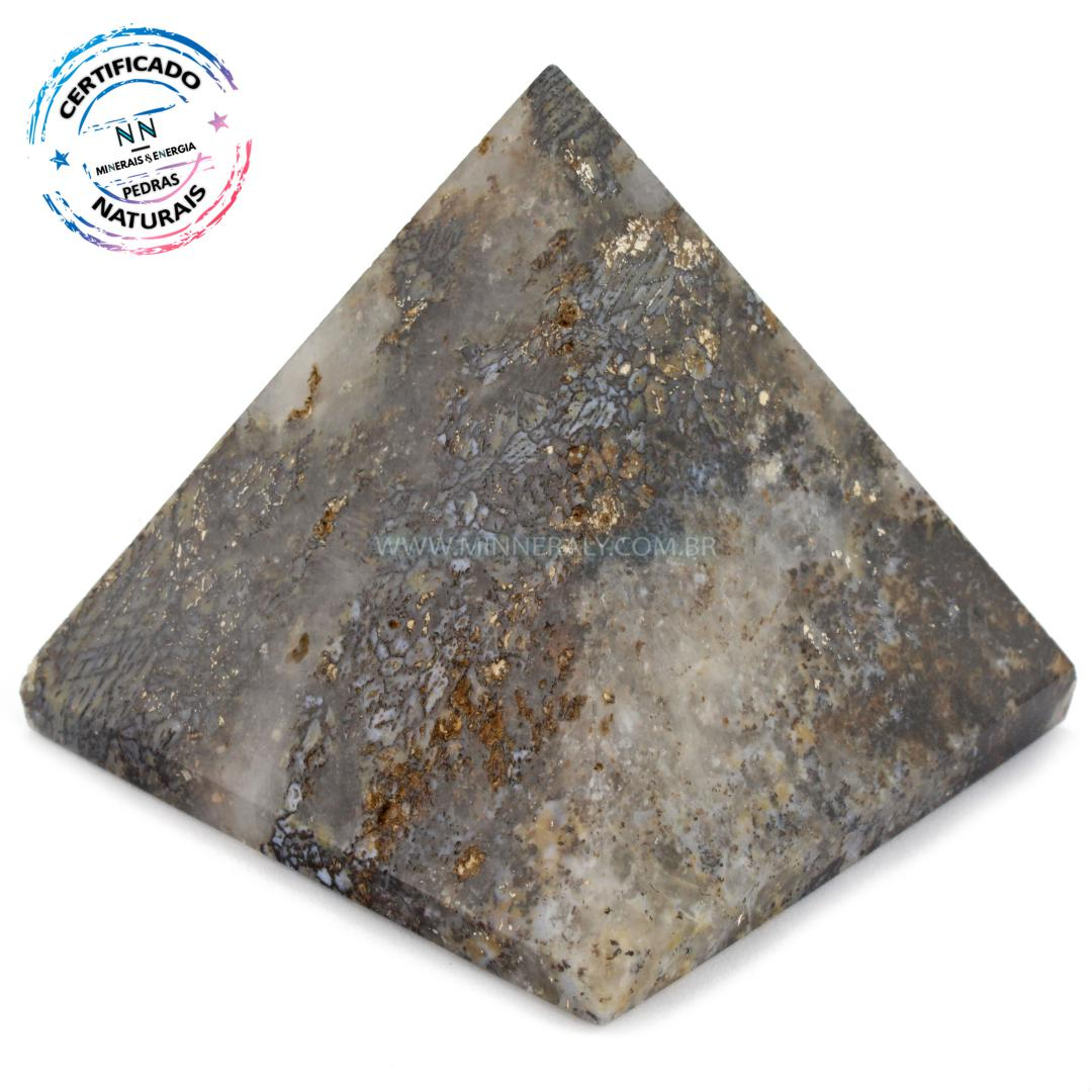 Pirâmide de ágata Dendrita Calcedonia IN Natura (0,245KG; ALT: 5,9CM; COMP; 6,3CM; LARG: 6,6CM)