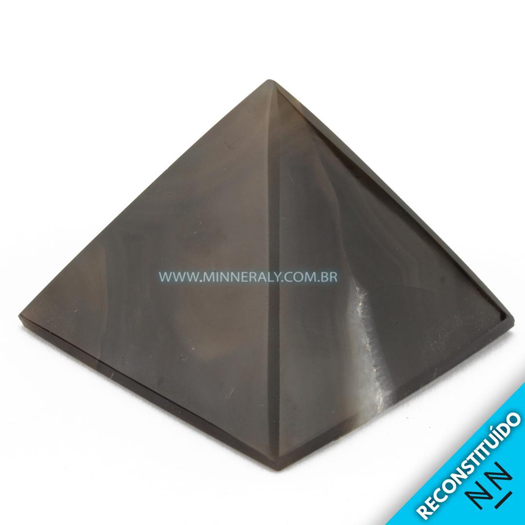 Pirâmide de Ágata Preta Reconstituída #NN105