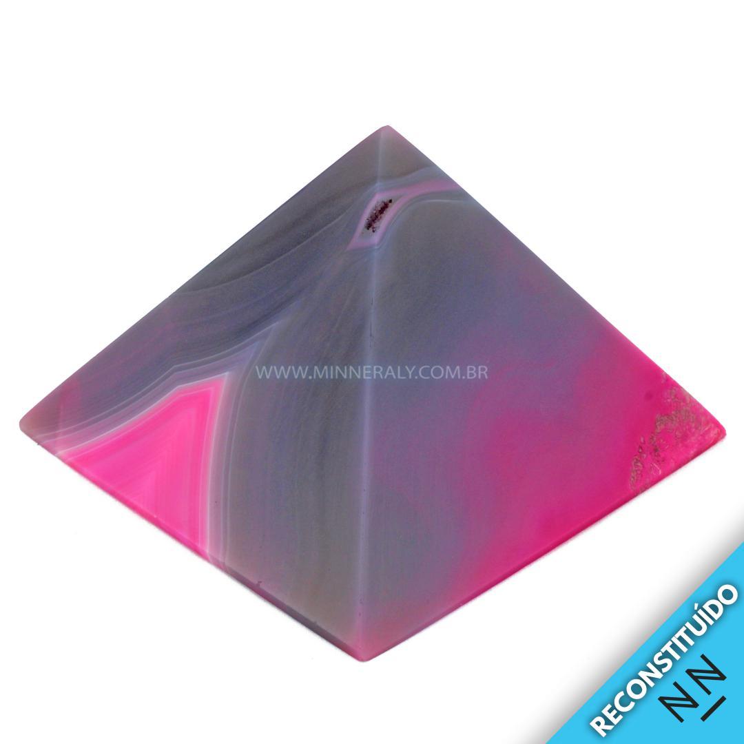 Pirâmide de ágata Rosa Reconstituída (0,525KG; ALT: 6,7CM; COMP; 9,7CM; LARG: 9,3CM)