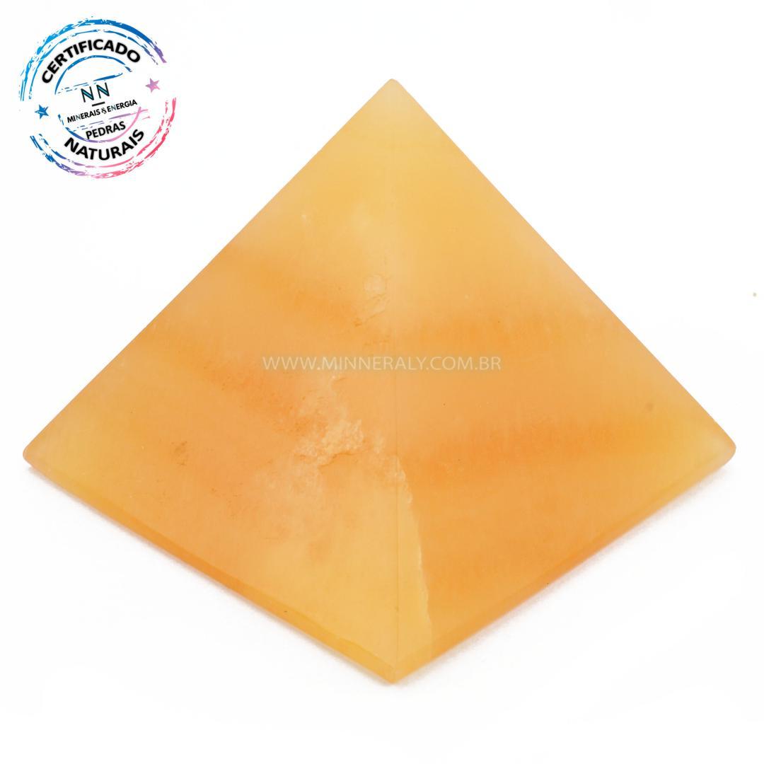 Pirâmide de Calcita Amarela IN Natura (0,445KG; ALT: 6,8CM; COMP; 8,1CM; LARG: 8,3CM)