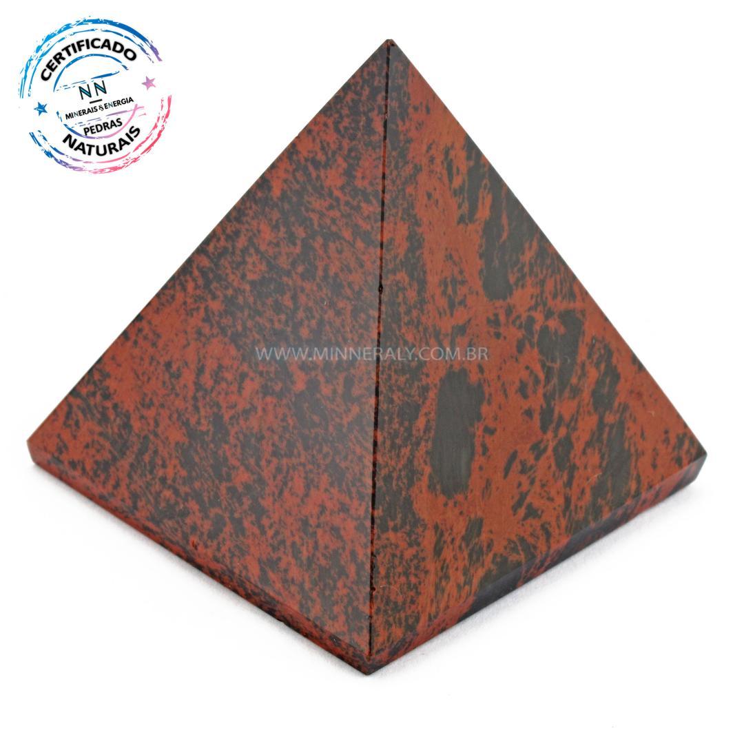 Pirâmide de Obsidiana COR de Mogno (marrom ou Mahagony) IN Natura (0,165KG; ALT: 5,8CM; COMP; 5,7CM; LARG: 5,8CM)