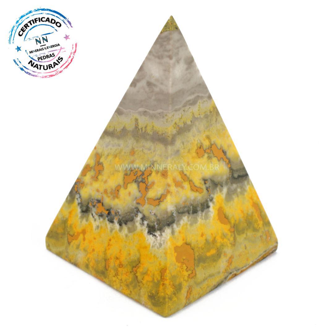 Pirâmide de Pedra do Eclipse (jaspe Bumblebee ou Mamangaba) IN Natura (0,170KG; ALT: 8,9CM; COMP; 6,4CM; LARG: 6,5CM)