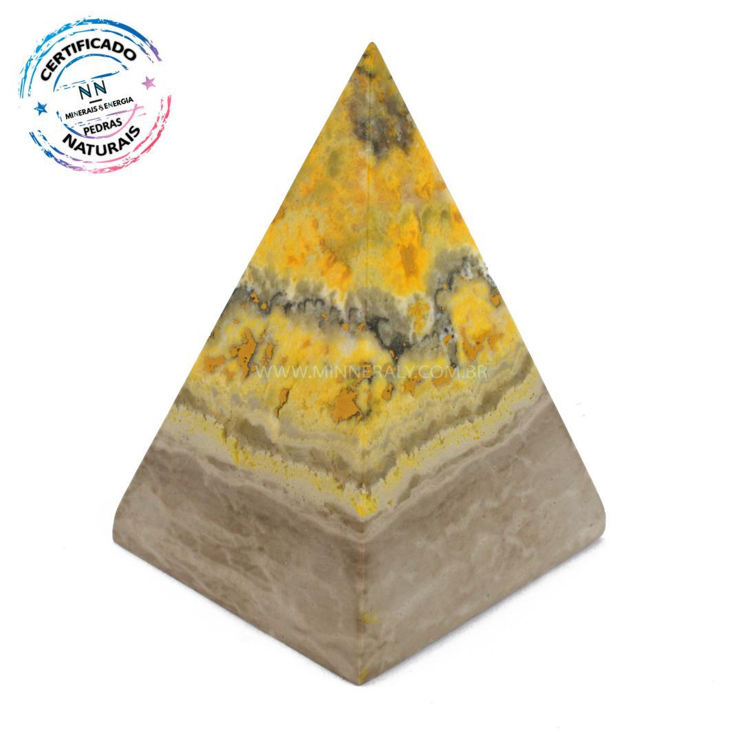 Pirâmide de Pedra do Eclipse (jaspe Bumblebee ou Mamangaba) IN Natura (0,205KG; ALT: 9,2CM; COMP; 7,0CM; LARG: 6,6CM)