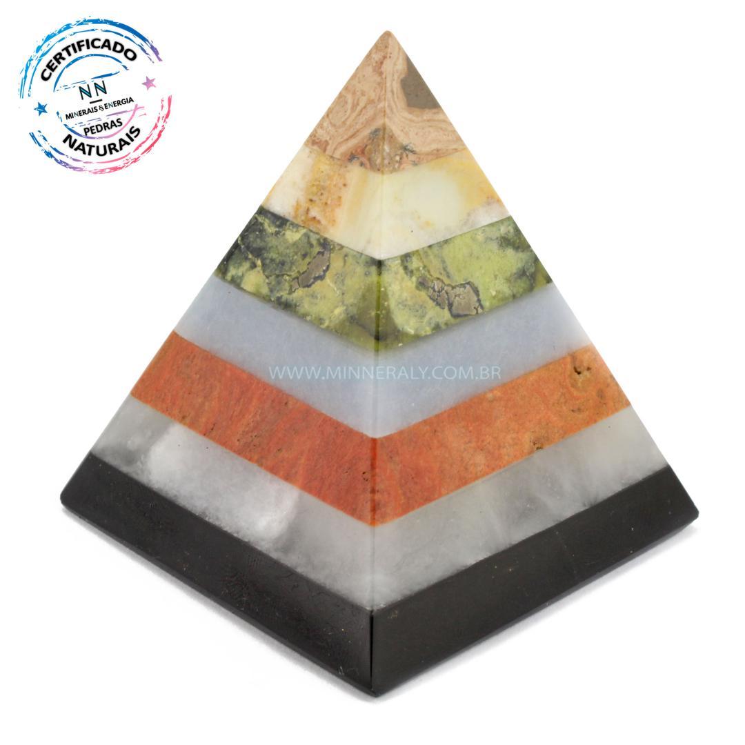 Pirâmide de Pedras Mistas IN Natura (0,195KG; ALT: 7,7CM; COMP; 7,3CM; LARG: 7,2CM)