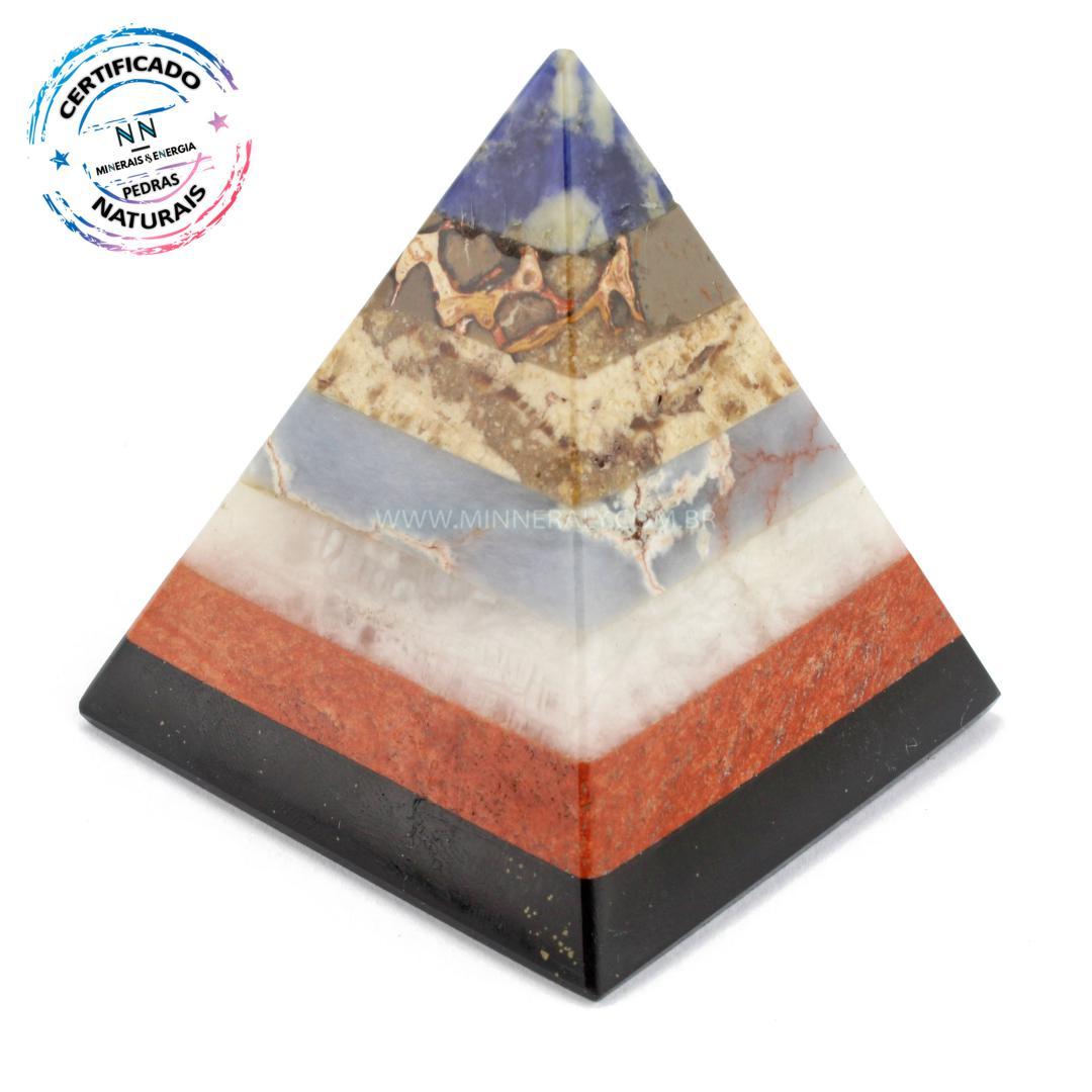 Pirâmide de Pedras Mistas IN Natura (0,200KG; ALT: 7,7CM; COMP; 7,4CM; LARG: 7,4CM)