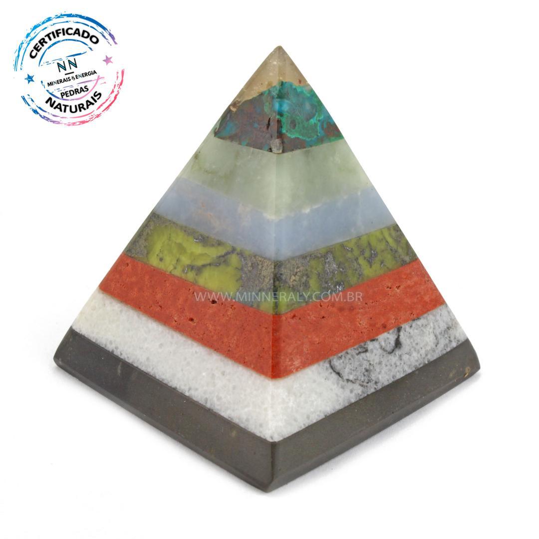 Pirâmide de Pedras Mistas IN Natura (0,110KG; ALT: 6,6CM; COMP; 6,2CM; LARG: 6,1CM)