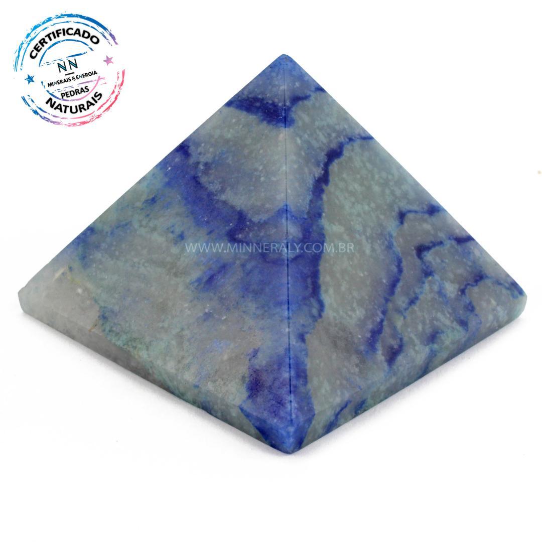 Pirâmide de Quartzo AZUL IN Natura (0,295KG; ALT: 5,6CM; COMP; 7,0CM; LARG: 7,1CM)