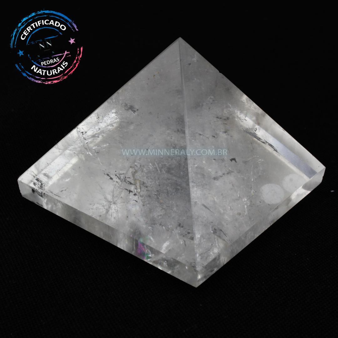 Pirâmide de Quartzo ou Cristal Branco IN Natura (0,200KG; ALT: 4,7CM; COMP; 6,0CM; LARG: 6,0CM)
