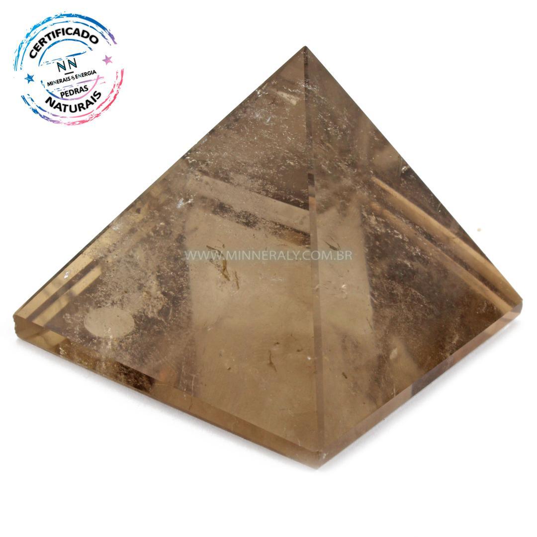 Pirâmide de Quartzo ou Cristal Fumê (enfumaçado) IN Natura (0,182KG; ALT: 5,3CM; COMP; 6,0CM; LARG: 5,9CM)