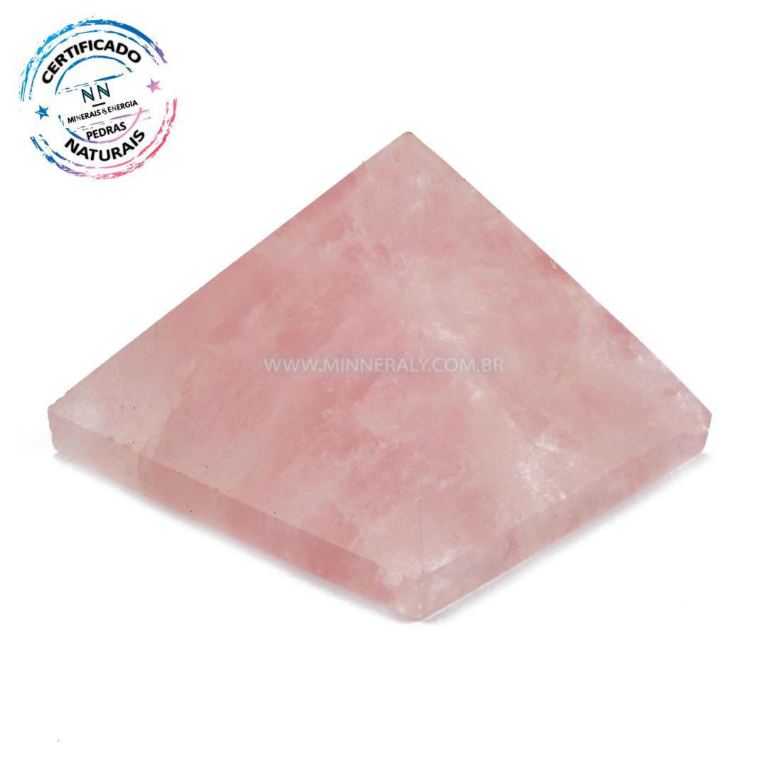Pirâmide de Quartzo Rosa IN Natura (0,190KG; ALT: 3,6CM; COMP; 6,7CM; LARG: 6,8CM)