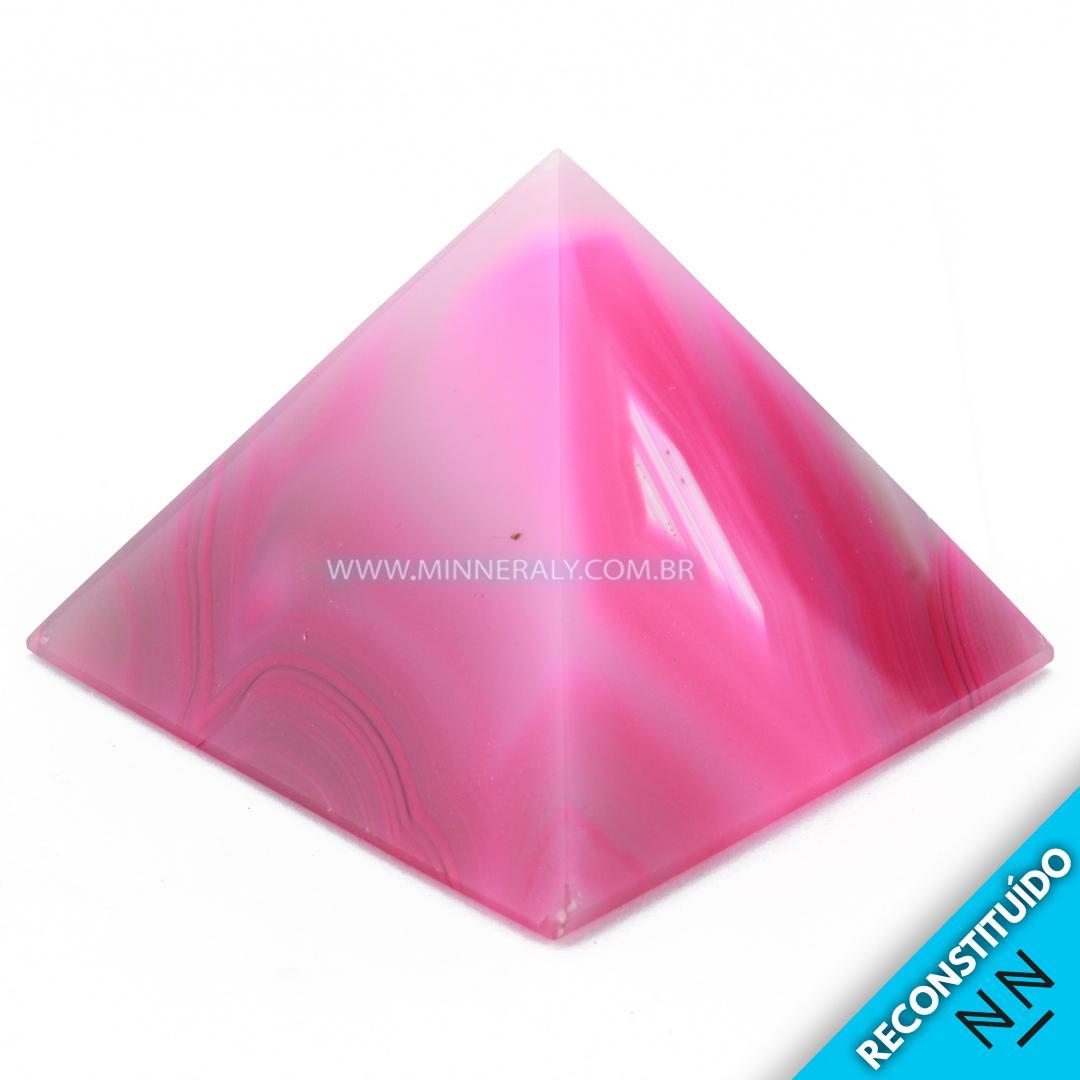 Pirâmide de Ágata Rosa Reconstituída (0,160kg; 4,6cm) #NN110