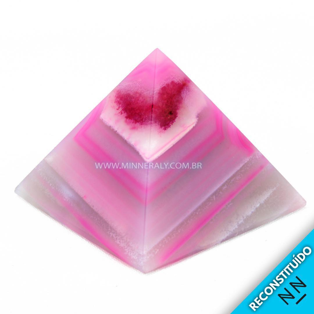 Pirâmide de Ágata Rosa Reconstituída #NN107