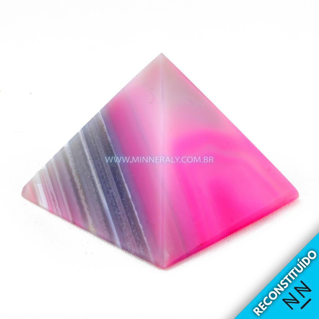 Pirâmide de Ágata Rosa Reconstituída #NN108