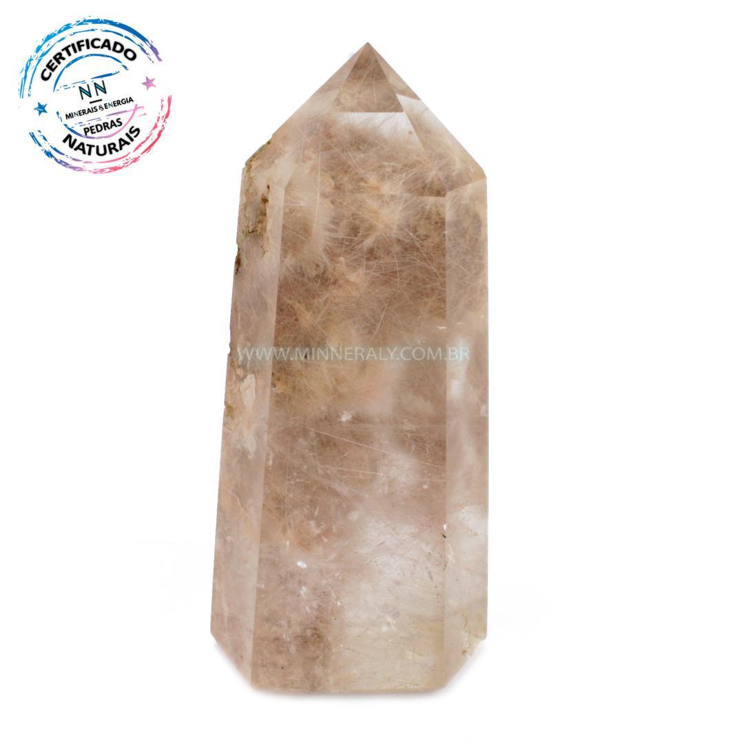 Ponta de Cristal Phantom com Rutilo IN Natura (1,695KG; ALT: 20,0CM; COMP: 8,5CM; LARG: 6,4CM)