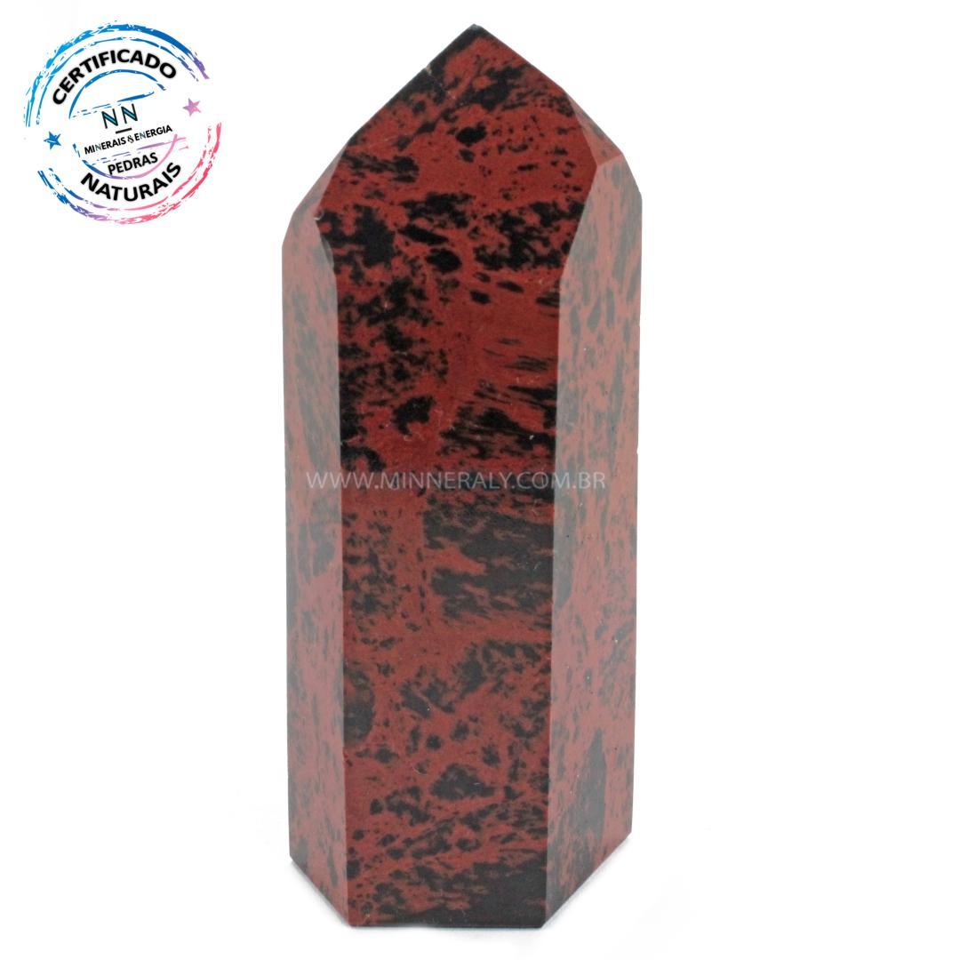 Ponta de Obsidiana COR de Mogno (marrom ou Mahagony) IN Natura (0,225KG; ALT: 10,0CM; COMP: 4,4CM; LARG: 3,2CM)