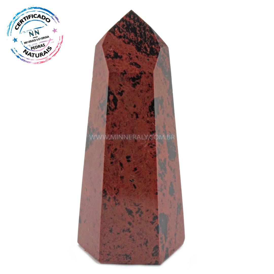 Ponta de Obsidiana COR de Mogno (marrom ou Mahagony) IN Natura (0,95KG; ALT: 8,0CM; COMP: 3,2CM; LARG: 2,8CM)