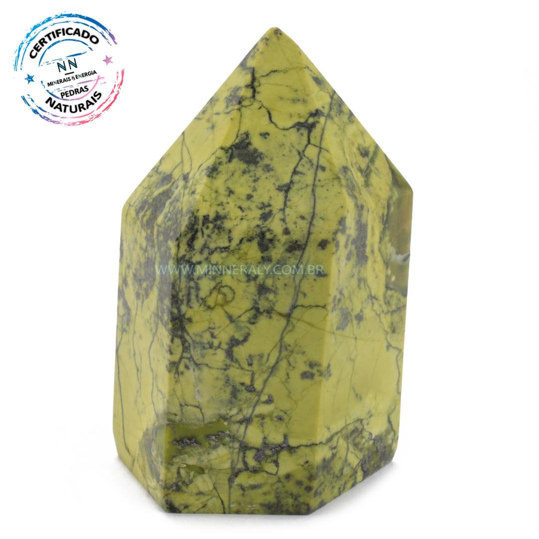Ponta de Pedra do Infinito (serpentina VERDE-CLARA) IN Natura (0,535KG; ALT: 10,3CM; COMP: 6,0CM; LARG: 5,8CM)