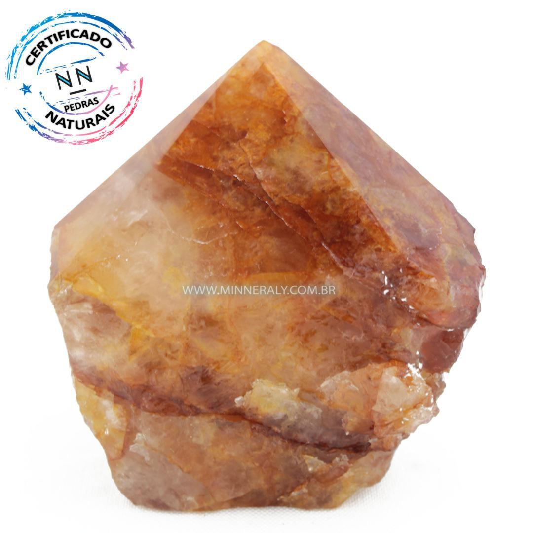 Ponta Geradora de Quartzo ou Cristal Hematoide (Agente de Cura Ouro) in Natura (0,410kg; 7,5cm) #NN206