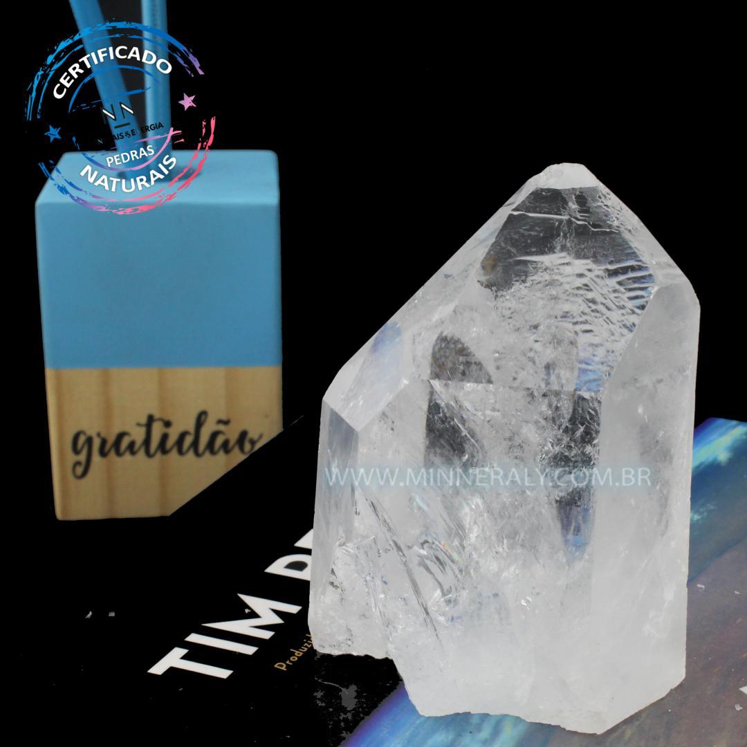 Ponta de Quartzo ou Cristal Branca (lemuriano) IN Natura (0,380KG; ALT: 9,2CM; COMP: 6,9CM; LARG: 5,6CM)