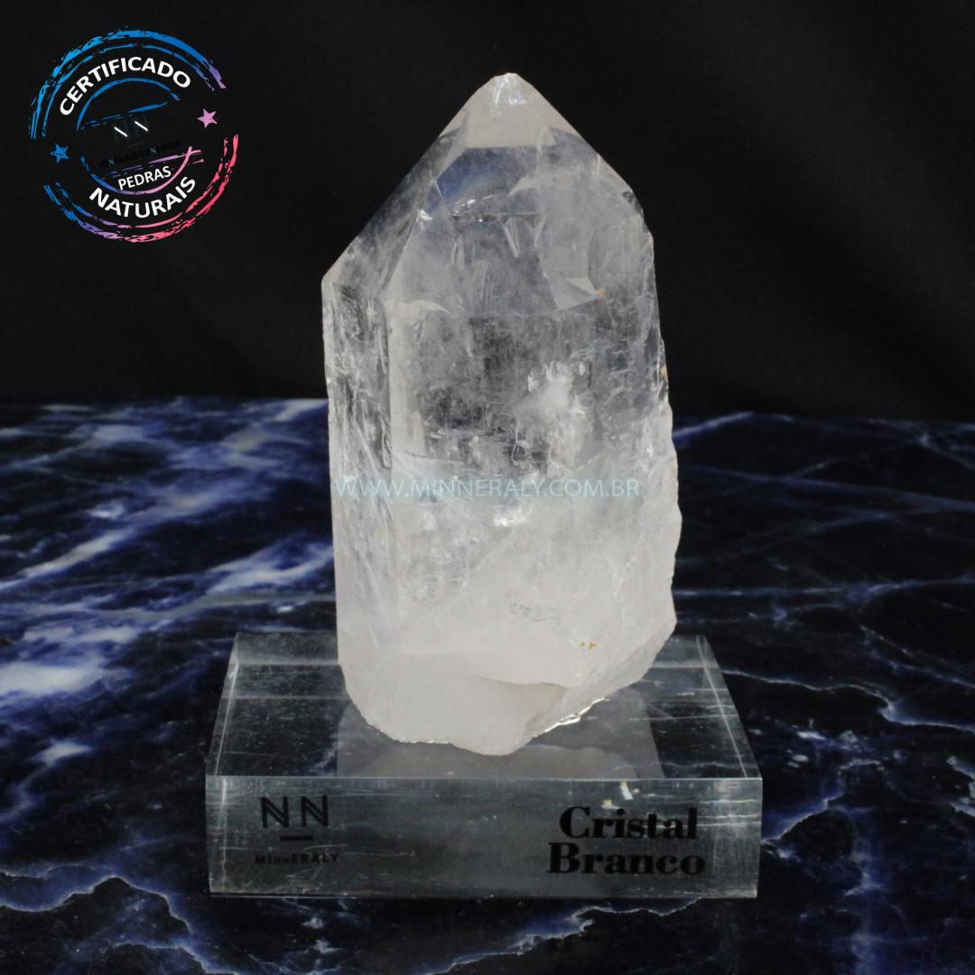Ponta de Quartzo ou Cristal Branco Lemuriano IN Natura Clear.collection (0,630KG; ALT: 13,0CM; COMP: 5,8CM; LARG: 4,8CM)