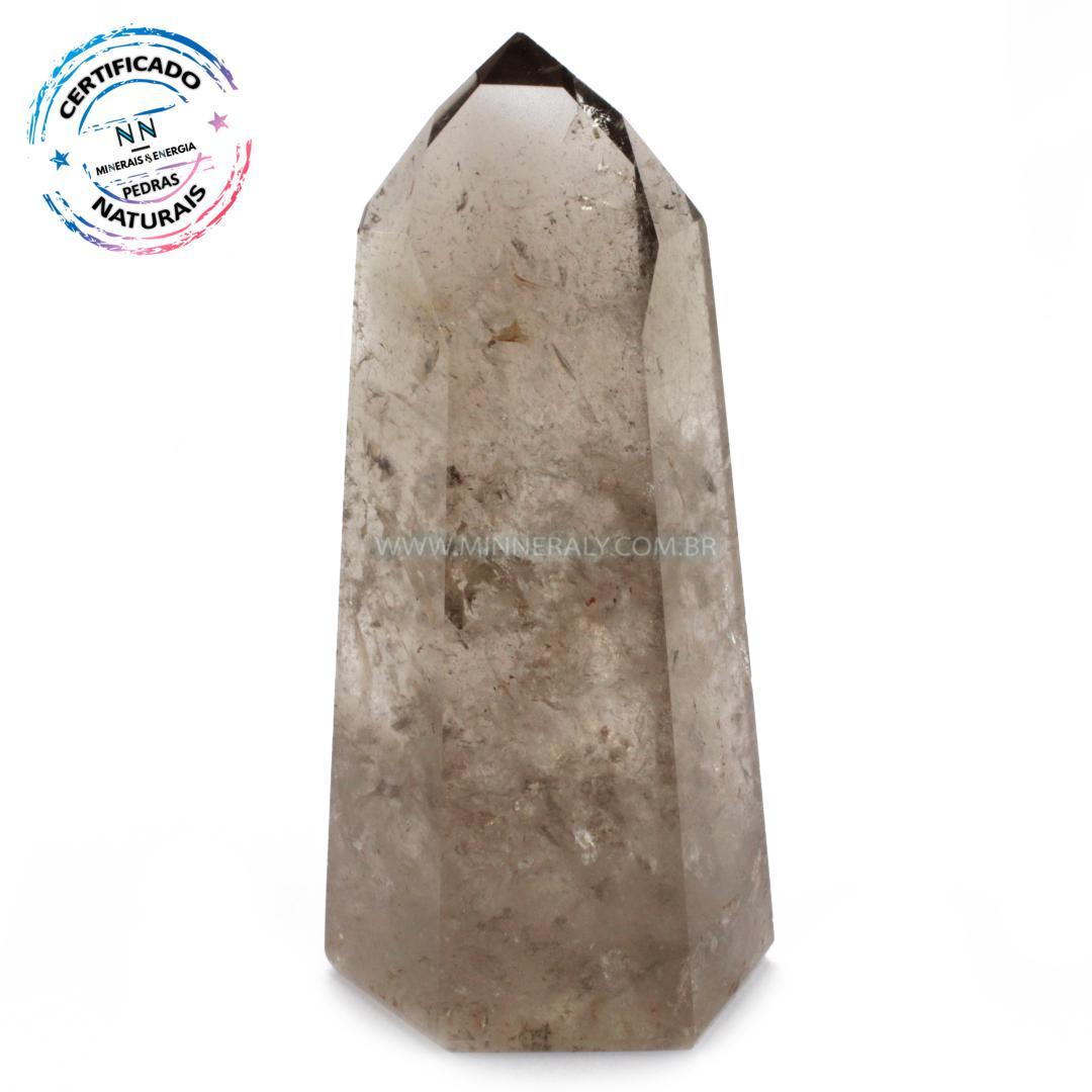Ponta de Quartzo ou Cristal Fume (enfumacado) IN Natura (0,390KG; ALT: 12,0CM; COMP: 5,2CM; LARG: 3,9CM)