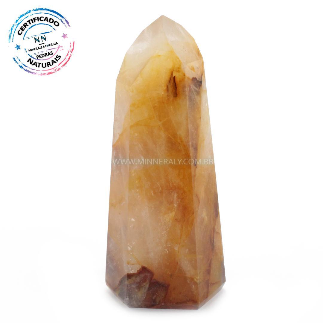 Ponta de Quartzo ou Cristal Hematoide Amarelo (agente de Cura Ouro) IN Natura (0,190KG; ALT: 10,2CM; COMP: 3,5CM; LARG: 3,1CM)