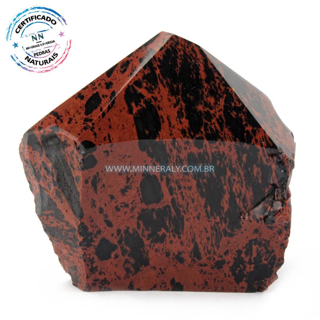 Ponta Geradora de Obsidiana COR de Magno (marrom ou Mahagony) IN Natura (0,342KG; ALT: 8,0CM; COMP: 8,5CM; LARG: 4,6CM)