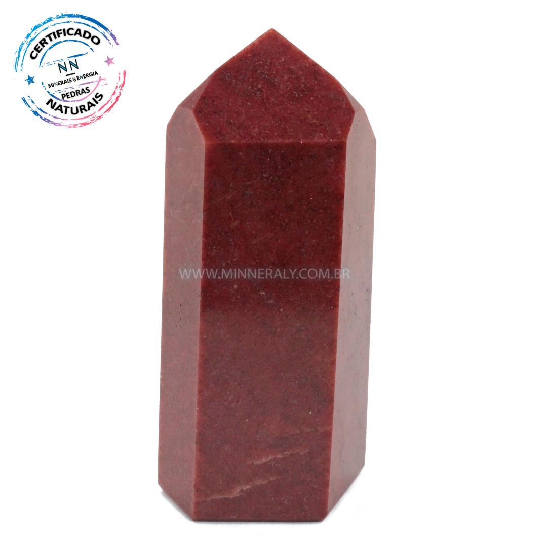 Ponta de Quartzo Vermelho IN Natura (0,195KG; ALT: 9,1CM; COMP: 3,8CM; LARG: 3,3CM)