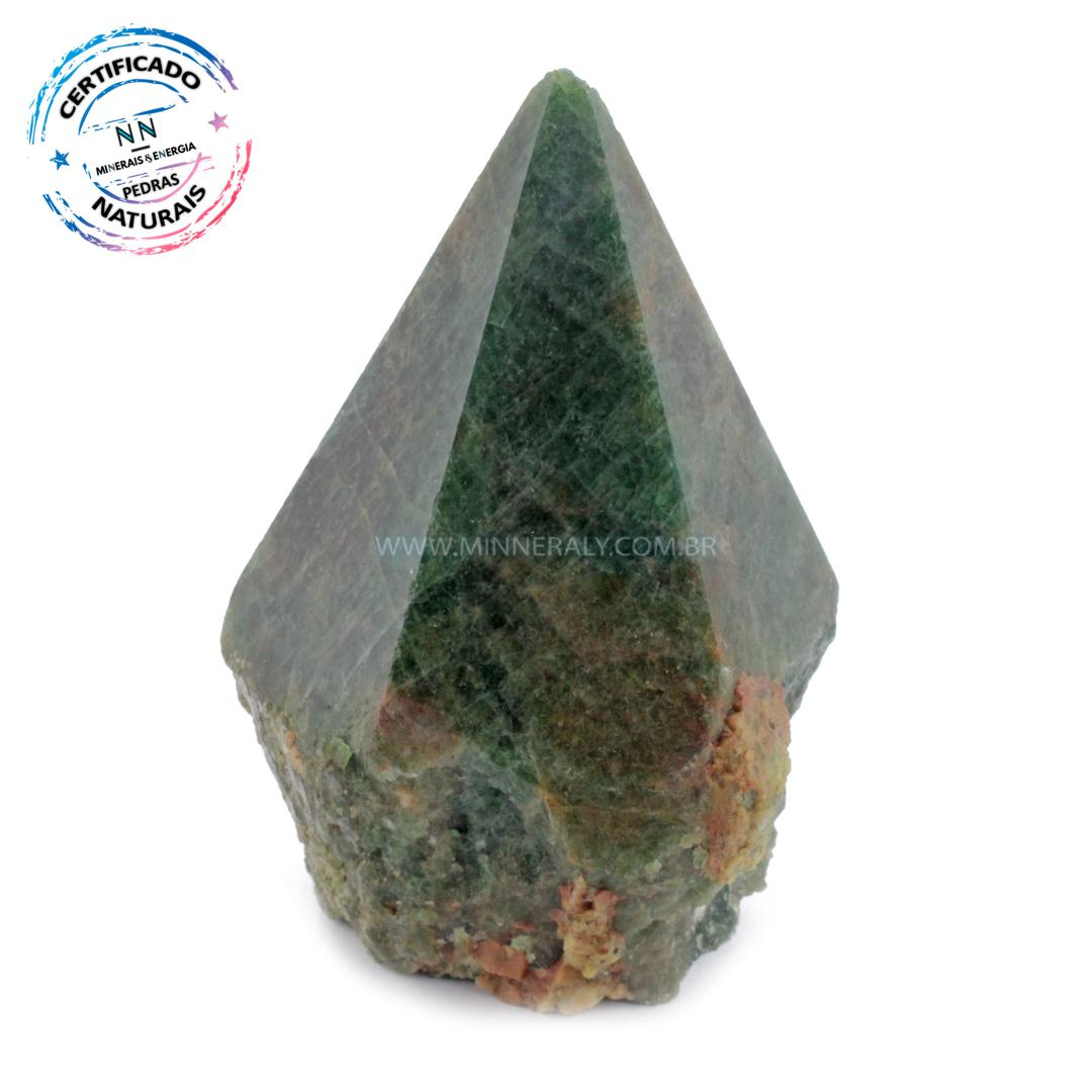 Ponta Geradora de Apatita Verde IN Natura (0,645KG; ALT: 10,1CM; COMP: 7,7CM; LARG: 6,4CM)