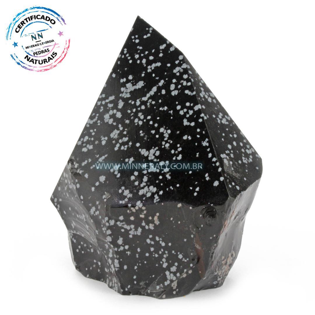 Ponta Geradora de Obsidiana Floco de Neve IN Natura (0,564KG; ALT: 10,2CM; COMP: 8,7CM; LARG: 7,2CM)