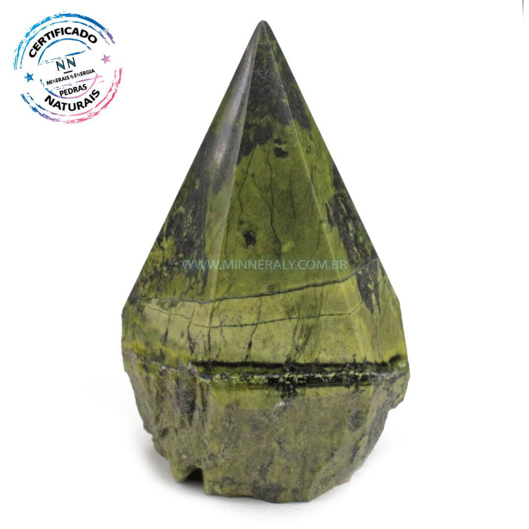 Ponta Geradora de Pedra do Infinito (serpentina VERDE-CLARA) IN Natura (0,318KG; ALT: 9,6CM; COMP: 6,3CM; LARG: 5,5CM)
