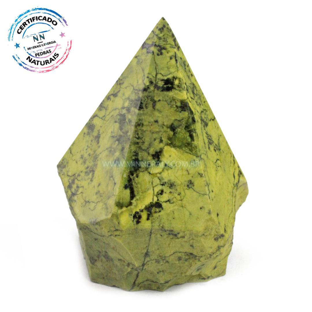 Ponta Geradora de Pedra do Infinito (serpentina VERDE-CLARA) IN Natura (0,426KG; ALT: 9,5CM; COMP: 7,4CM; LARG: 7,1CM)