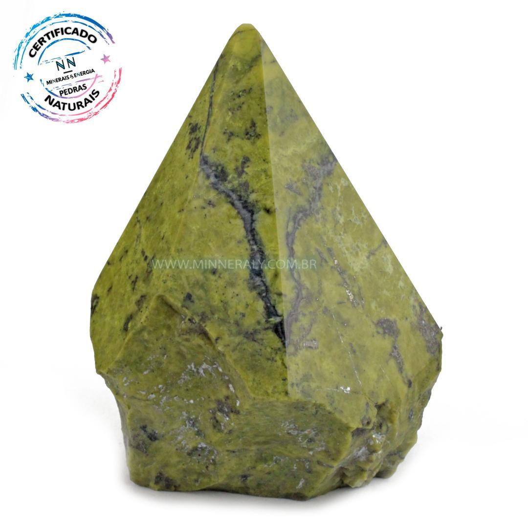 Ponta Geradora de Pedra do Infinito (serpentina VERDE-CLARA) IN Natura (0,474KG; ALT: 9,9CM; COMP: 7,6CM; LARG: 7,6CM)