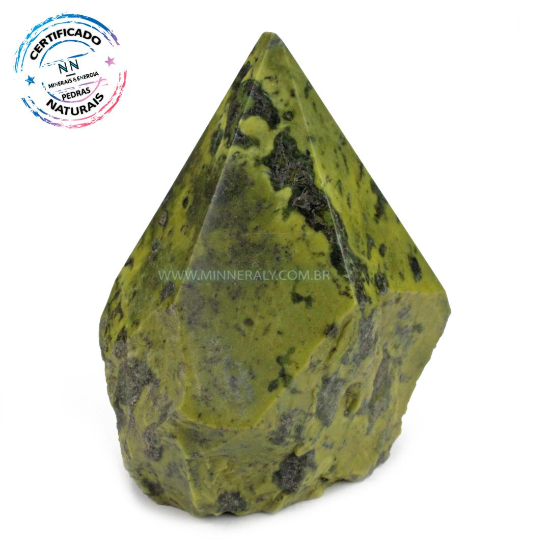Ponta Geradora de Pedra do Infinito (serpentina VERDE-CLARA) IN Natura (0,566KG; ALT: 10,1CM; COMP: 8,1CM; LARG: 6,4CM)