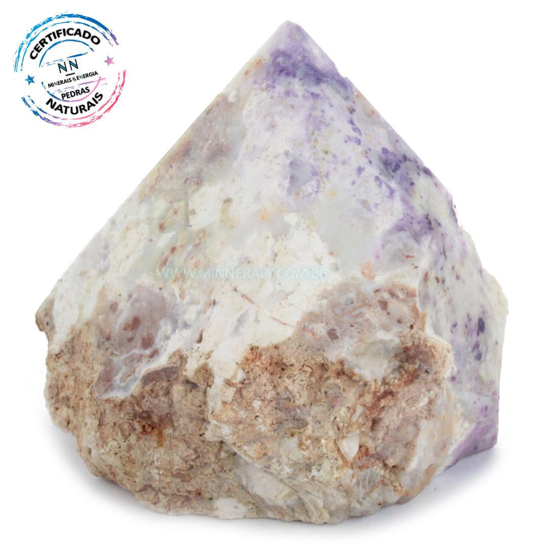 Ponta Geradora de Pedra Tiffany (opala Purpura ou Lavanda Roxa) IN Natura (0,360KG; ALT: 7,9CM; COMP: 8,7CM; LARG: 7,0CM)