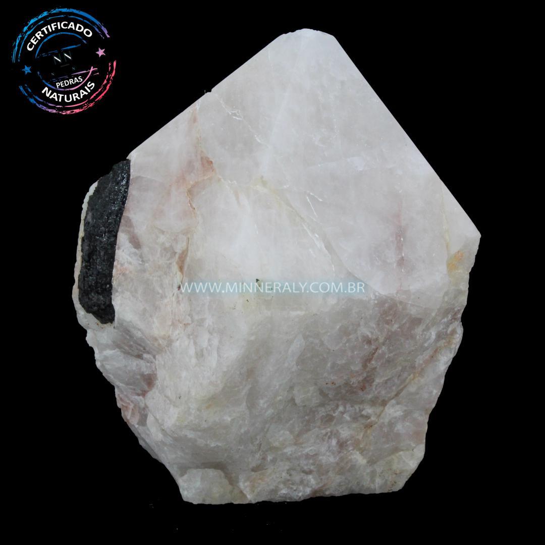Ponta Geradora de Quartzo com Turmalina Preta (negra ou Schorlina) IN Natura (0,812KG; ALT: 10,7CM; COMP: 8,8CM; LARG: 7,5CM)