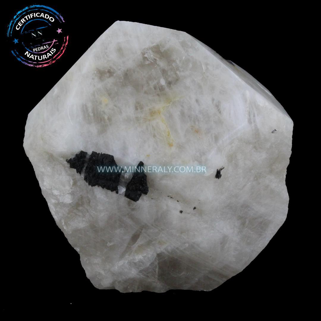 Ponta Geradora de Quartzo com Turmalina Preta (Negra ou Schorlina) in Natura (0,846kg; 9,4cm) #NN197
