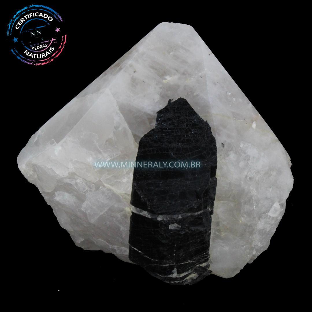 Ponta Geradora de Quartzo com Turmalina Preta (Negra ou Schorlina) in Natura (0,846kg; 9,4cm) #NN235