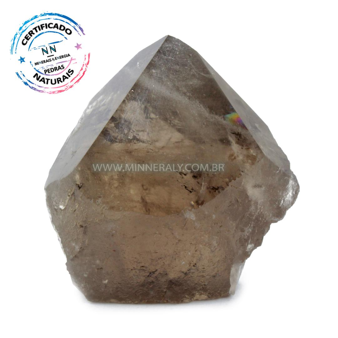Ponta Geradora de Quartzo ou Cristal Fume (enfumacado) IN Natura (0,248KG; ALT: 7,4CM; COMP: 6,6CM; LARG: 4,5CM)