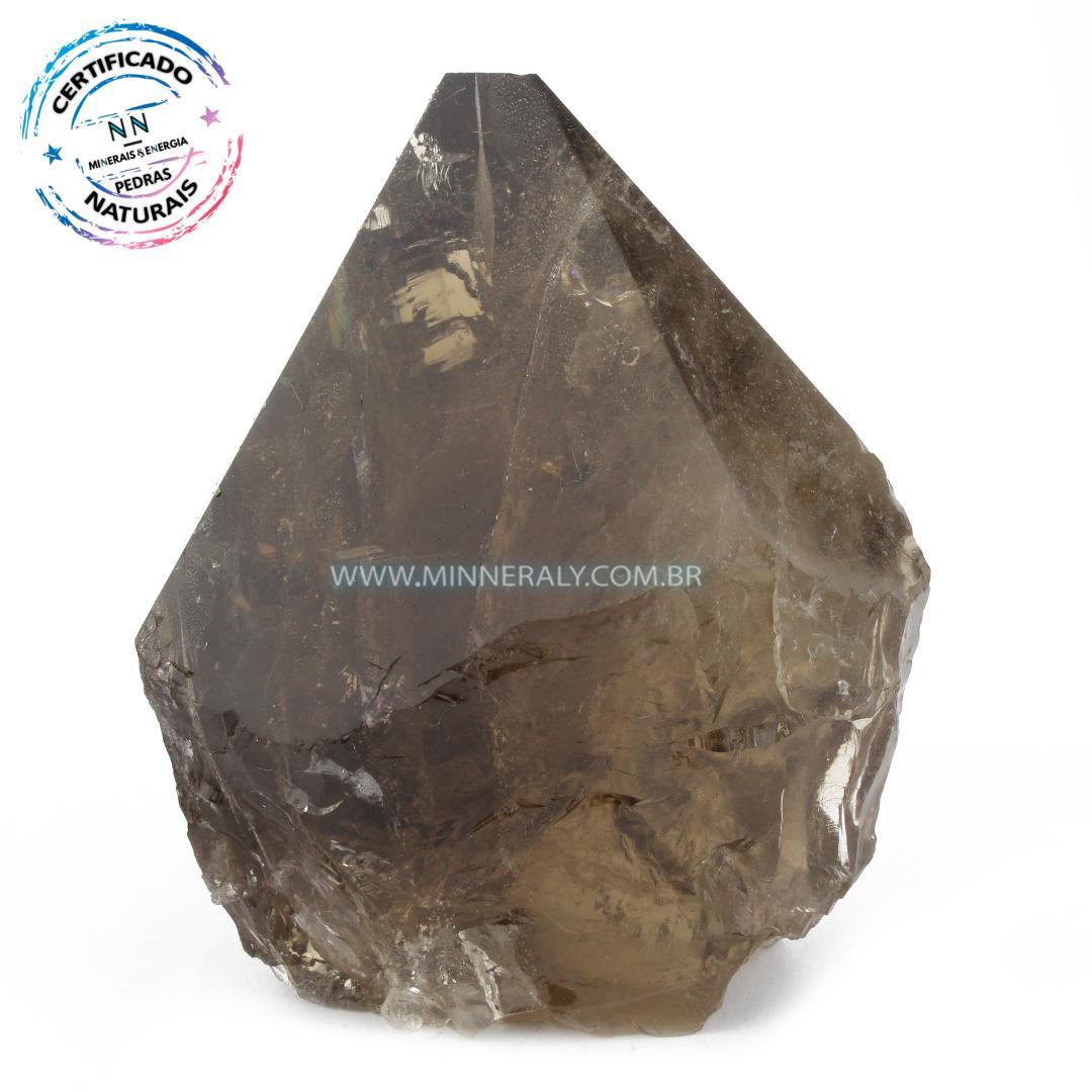 Ponta Geradora de Quartzo ou Cristal Fume (enfumacado) IN Natura (0,776KG; ALT: 10,4CM; COMP: 8,7CM; LARG: 7,1CM)