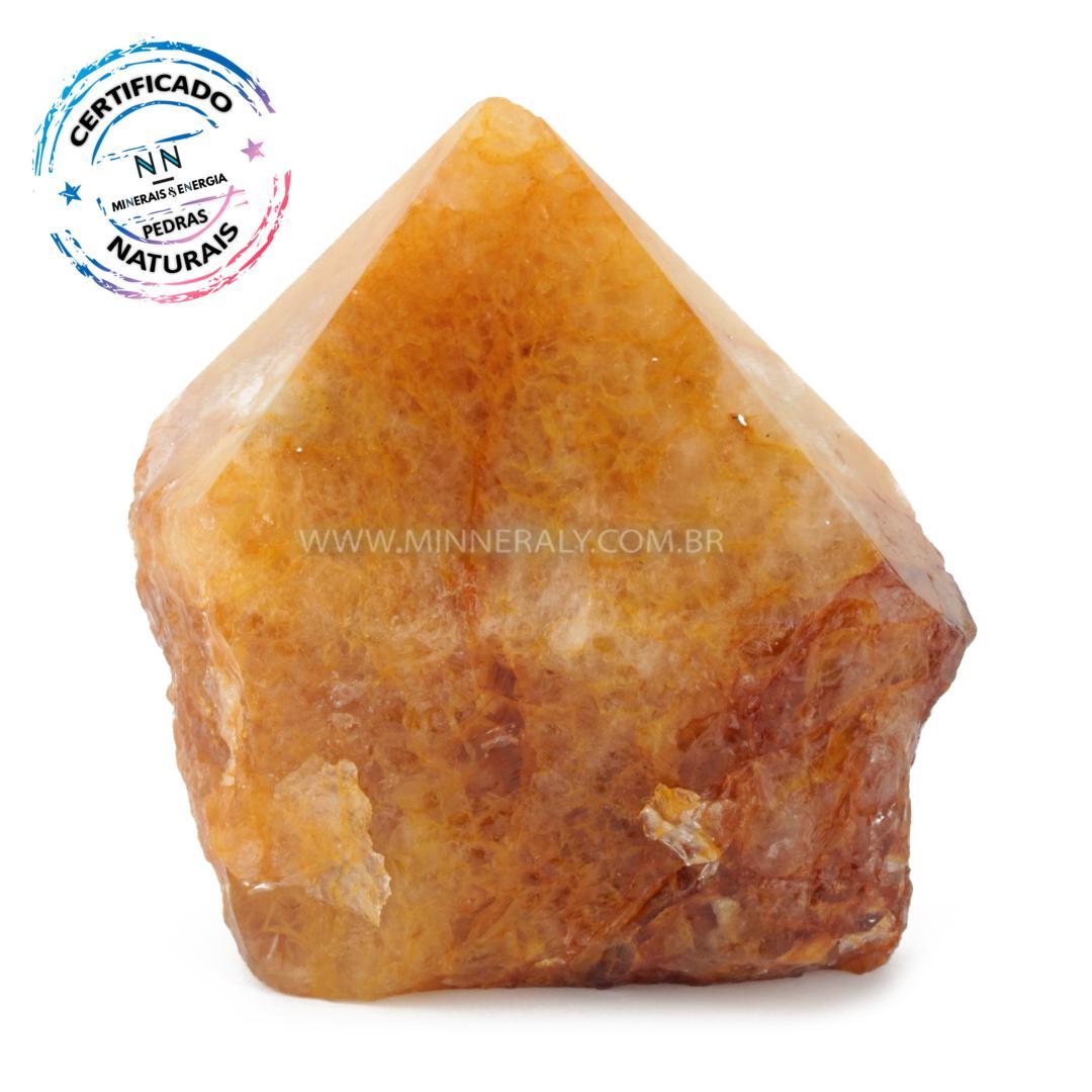Ponta Geradora de Quartzo ou Cristal Hematoide Amarelo (agente de Cura Ouro) IN Natura (0,896KG; ALT: 10,2CM; COMP: 10,4CM; LARG: 7,6CM)